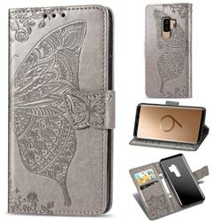 Embossing Mandala Flower Butterfly Leather Wallet Case for Samsung Galaxy S9 Plus(S9+) - Gray