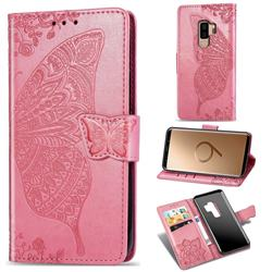 Embossing Mandala Flower Butterfly Leather Wallet Case for Samsung Galaxy S9 Plus(S9+) - Pink