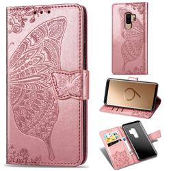 Embossing Mandala Flower Butterfly Leather Wallet Case for Samsung Galaxy S9 Plus(S9+) - Rose Gold