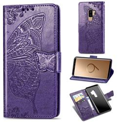 Embossing Mandala Flower Butterfly Leather Wallet Case for Samsung Galaxy S9 Plus(S9+) - Dark Purple