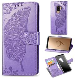 Embossing Mandala Flower Butterfly Leather Wallet Case for Samsung Galaxy S9 Plus(S9+) - Light Purple