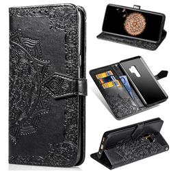 Embossing Imprint Mandala Flower Leather Wallet Case for Samsung Galaxy S9 Plus(S9+) - Black