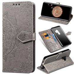 Embossing Imprint Mandala Flower Leather Wallet Case for Samsung Galaxy S9 Plus(S9+) - Gray