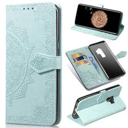 Embossing Imprint Mandala Flower Leather Wallet Case for Samsung Galaxy S9 Plus(S9+) - Green