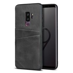 Simple Calf Card Slots Mobile Phone Back Cover for Samsung Galaxy S9 Plus(S9+) - Black
