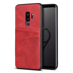 Simple Calf Card Slots Mobile Phone Back Cover for Samsung Galaxy S9 Plus(S9+) - Red