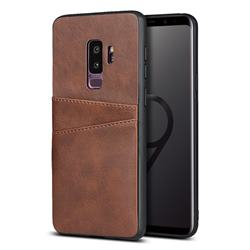 Simple Calf Card Slots Mobile Phone Back Cover for Samsung Galaxy S9 Plus(S9+) - Coffee