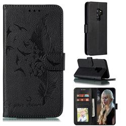 Intricate Embossing Lychee Feather Bird Leather Wallet Case for Samsung Galaxy S9 Plus(S9+) - Black