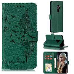 Intricate Embossing Lychee Feather Bird Leather Wallet Case for Samsung Galaxy S9 Plus(S9+) - Green
