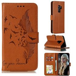Intricate Embossing Lychee Feather Bird Leather Wallet Case for Samsung Galaxy S9 Plus(S9+) - Brown
