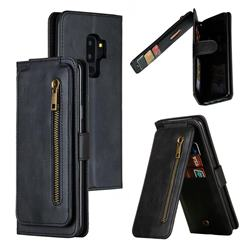 Multifunction 9 Cards Leather Zipper Wallet Phone Case for Samsung Galaxy S9 Plus(S9+) - Black