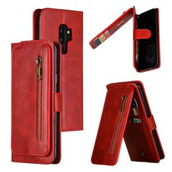 Multifunction 9 Cards Leather Zipper Wallet Phone Case for Samsung Galaxy S9 Plus(S9+) - Red