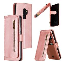 Multifunction 9 Cards Leather Zipper Wallet Phone Case for Samsung Galaxy S9 Plus(S9+) - Rose Gold