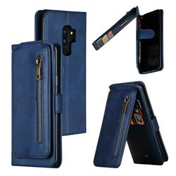 Multifunction 9 Cards Leather Zipper Wallet Phone Case for Samsung Galaxy S9 Plus(S9+) - Blue