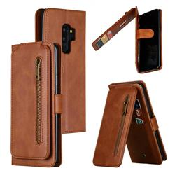 Multifunction 9 Cards Leather Zipper Wallet Phone Case for Samsung Galaxy S9 Plus(S9+) - Brown