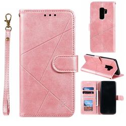 Embossing Geometric Leather Wallet Case for Samsung Galaxy S9 Plus(S9+) - Rose Gold