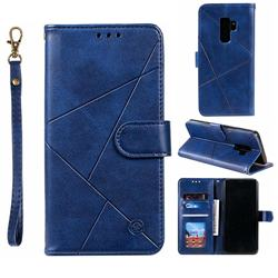 Embossing Geometric Leather Wallet Case for Samsung Galaxy S9 Plus(S9+) - Blue