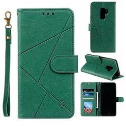 Embossing Geometric Leather Wallet Case for Samsung Galaxy S9 Plus(S9+) - Green