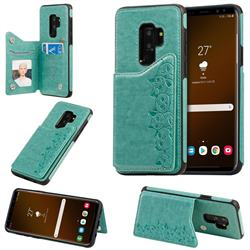 Yikatu Luxury Cute Cats Multifunction Magnetic Card Slots Stand Leather Back Cover for Samsung Galaxy S9 Plus(S9+) - Green