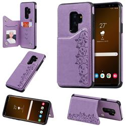 Yikatu Luxury Cute Cats Multifunction Magnetic Card Slots Stand Leather Back Cover for Samsung Galaxy S9 Plus(S9+) - Purple