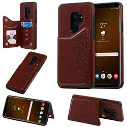 Yikatu Luxury Cute Cats Multifunction Magnetic Card Slots Stand Leather Back Cover for Samsung Galaxy S9 Plus(S9+) - Brown