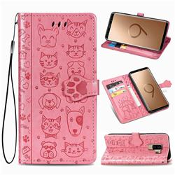 Embossing Dog Paw Kitten and Puppy Leather Wallet Case for Samsung Galaxy S9 Plus(S9+) - Pink