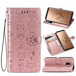 Embossing Dog Paw Kitten and Puppy Leather Wallet Case for Samsung Galaxy S9 Plus(S9+) - Rose Gold
