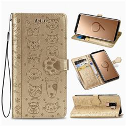 Embossing Dog Paw Kitten and Puppy Leather Wallet Case for Samsung Galaxy S9 Plus(S9+) - Champagne Gold