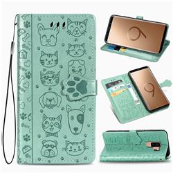 Embossing Dog Paw Kitten and Puppy Leather Wallet Case for Samsung Galaxy S9 Plus(S9+) - Green