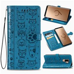 Embossing Dog Paw Kitten and Puppy Leather Wallet Case for Samsung Galaxy S9 Plus(S9+) - Blue