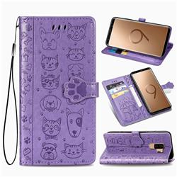 Embossing Dog Paw Kitten and Puppy Leather Wallet Case for Samsung Galaxy S9 Plus(S9+) - Purple