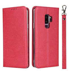 Ultra Slim Magnetic Automatic Suction Silk Lanyard Leather Flip Cover for Samsung Galaxy S9 Plus(S9+) - Red
