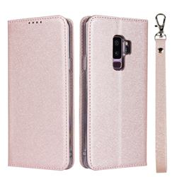 Ultra Slim Magnetic Automatic Suction Silk Lanyard Leather Flip Cover for Samsung Galaxy S9 Plus(S9+) - Rose Gold
