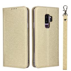 Ultra Slim Magnetic Automatic Suction Silk Lanyard Leather Flip Cover for Samsung Galaxy S9 Plus(S9+) - Golden