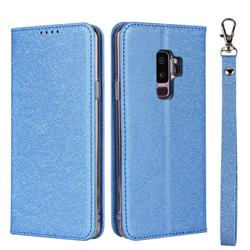 Ultra Slim Magnetic Automatic Suction Silk Lanyard Leather Flip Cover for Samsung Galaxy S9 Plus(S9+) - Sky Blue