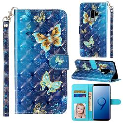Rankine Butterfly 3D Leather Phone Holster Wallet Case for Samsung Galaxy S9 Plus(S9+)