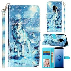 Snow Wolf 3D Leather Phone Holster Wallet Case for Samsung Galaxy S9 Plus(S9+)