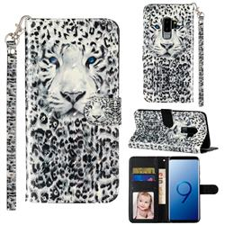 White Leopard 3D Leather Phone Holster Wallet Case for Samsung Galaxy S9 Plus(S9+)