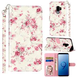 Rambler Rose Flower 3D Leather Phone Holster Wallet Case for Samsung Galaxy S9 Plus(S9+)