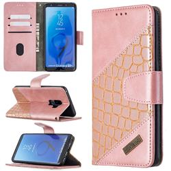 BinfenColor BF04 Color Block Stitching Crocodile Leather Case Cover for Samsung Galaxy S9 Plus(S9+) - Rose Gold