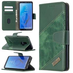 BinfenColor BF04 Color Block Stitching Crocodile Leather Case Cover for Samsung Galaxy S9 Plus(S9+) - Green