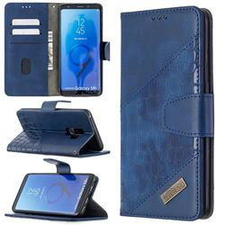 BinfenColor BF04 Color Block Stitching Crocodile Leather Case Cover for Samsung Galaxy S9 Plus(S9+) - Blue