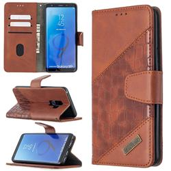 BinfenColor BF04 Color Block Stitching Crocodile Leather Case Cover for Samsung Galaxy S9 Plus(S9+) - Brown