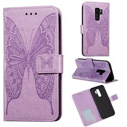 Intricate Embossing Vivid Butterfly Leather Wallet Case for Samsung Galaxy S9 Plus(S9+) - Purple