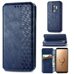 Ultra Slim Fashion Business Card Magnetic Automatic Suction Leather Flip Cover for Samsung Galaxy S9 Plus(S9+) - Dark Blue