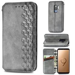 Ultra Slim Fashion Business Card Magnetic Automatic Suction Leather Flip Cover for Samsung Galaxy S9 Plus(S9+) - Grey