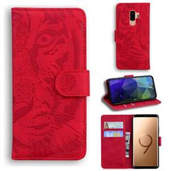Intricate Embossing Tiger Face Leather Wallet Case for Samsung Galaxy S9 Plus(S9+) - Red