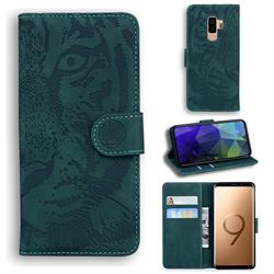 Intricate Embossing Tiger Face Leather Wallet Case for Samsung Galaxy S9 Plus(S9+) - Green