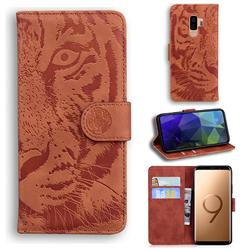 Intricate Embossing Tiger Face Leather Wallet Case for Samsung Galaxy S9 Plus(S9+) - Brown