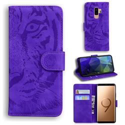 Intricate Embossing Tiger Face Leather Wallet Case for Samsung Galaxy S9 Plus(S9+) - Purple